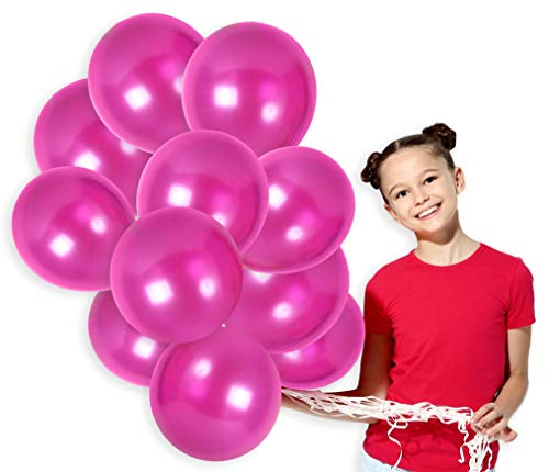 Pink Latex Hot Balloons - Magenta Pink Metallic Latex Balloons Kit for Valentines Sweet 16 Birthday Wedding Graduation Party Balloons Arch Supplies (36 Pack)