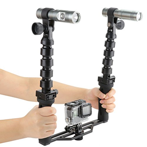 SHOOT Two Handle Underwater Tray Stabilizer with Dual 900 Lumens Diving Video Light Flex Arm 100M Waterproof for GoPro Action Camera Digital Camera by SHOOT