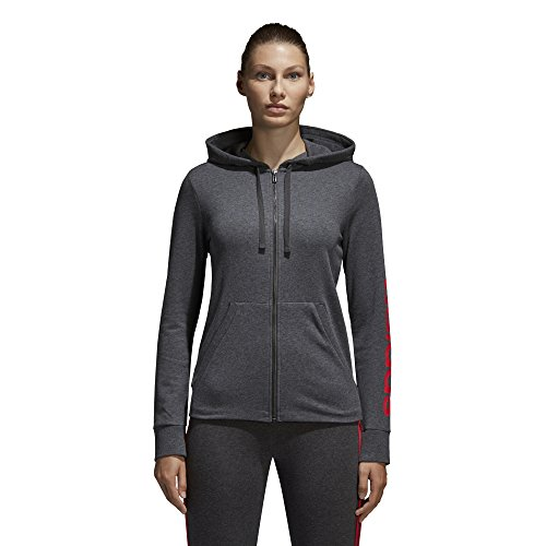 adidas Women's Essentials Linear Full Zip Fleece Hoodie, Dark Grey Heather/Real Coral, X-Small by adidas (Image #1)
