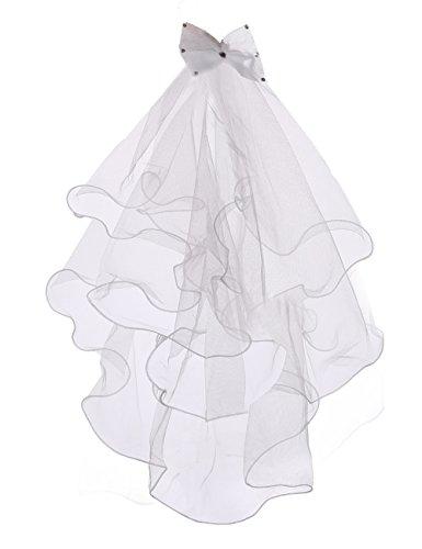 Flower Girls White Catholic Religious First Communion Veil Headband with Bow, 2 -