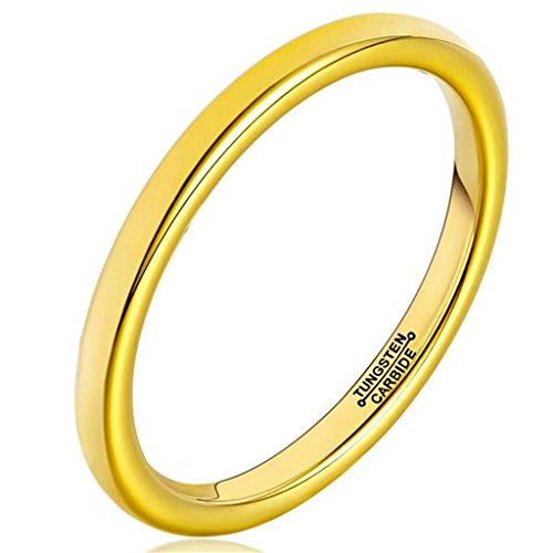 2MM Gold Plated Polish Comfort Fit Domed Tungsten Carbide Ring Size 8.5 Epinki (Fake Ice Makeup)