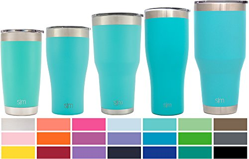 Simple Modern 22oz Slim Cruiser Tumblers - Vacuum Insulated Travel Mugs Personalized Canteen - 22 oz Double Wall Teal 18/8 Stainless Steel - Caribbean (Personalized Margarita Glasses)
