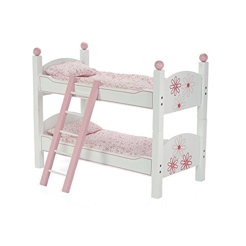 18 Inch Doll Furniture | 2 Single Beds! - Stackable Bunk Bed - Hand-painted, Includes 2 Sets of Quilted Bedding, Mattress & Ladder | Fits 18