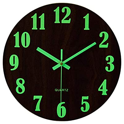 "jomparis 12"" Night Light Function Wooden Wall Clock Vintage Rustic Country Tuscan Style for Kitchen Office Home Silent & Non-Ticking Large Number Battery Operated Indoor Clocks"