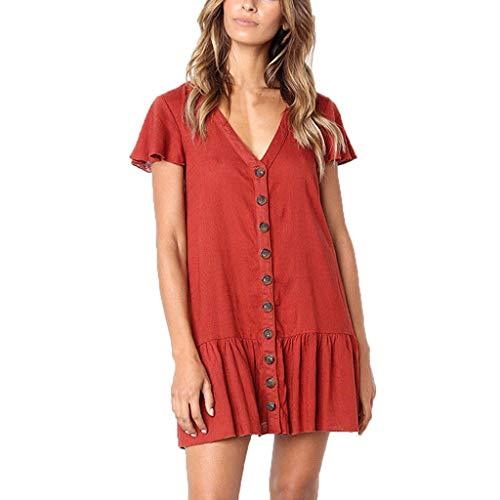 Hstore Women's Fashion V-Neck Flare Sleeve Dress Button Sundress Maxi Boho Casual Mini Dress Red