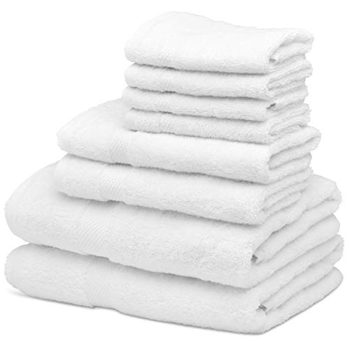 Luxury 8Piece Bath Towel Set White – 700 GSM Thick Combed Cotton Hotel Quality Highly Absorbent Towels – 2 Bath Towels, 2 Hand Towels, 4 Washcloths [Worth $72.95] (White, 8pc)
