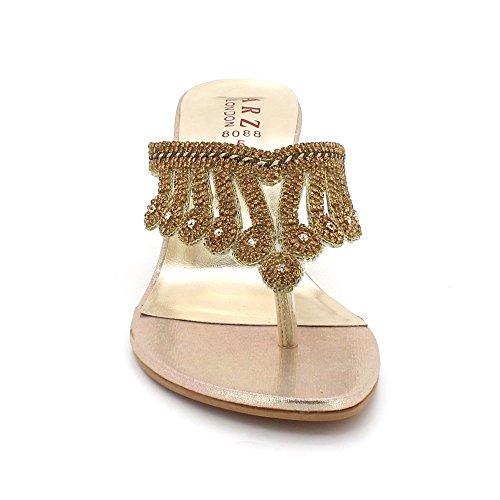 Cristal Chaussures de Moyen Talon Open de De Toe Bal Dames Femmes mariée Mariage Sandales Diamante Or des Soirée Taille Détail OFqnnTxt