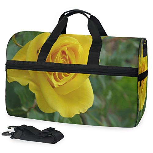 Gym Bag A Yellow Rose Sport Travel Duffel Bag with Shoes Compartment Large Capacity for Men/Women