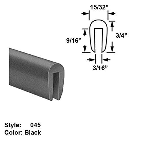 Silicone Rubber High-Temperature U-Channel Push-On Trim, Style 045 - Ht. 3/4'' x Wd. 15/32'' - Black - 10 ft long by Gordon Glass Co.