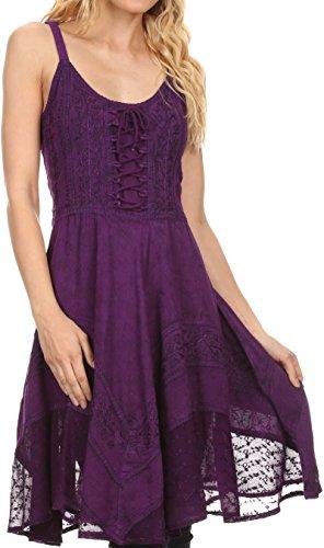 Sakkas 161113 - Calleea Mid Length Embroidery Sleeveless Spaghetti Strap Corset Batik Dress - Purple - 1X/2X