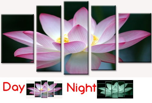 Startonight Canvas Wall Art Pink Flower, Pink USA Design for Home Decor, Dual View Surprise Wall Art Set of 5 Total 35.43 X 70.87 Inch 100% Original Art Painting! by Startonight