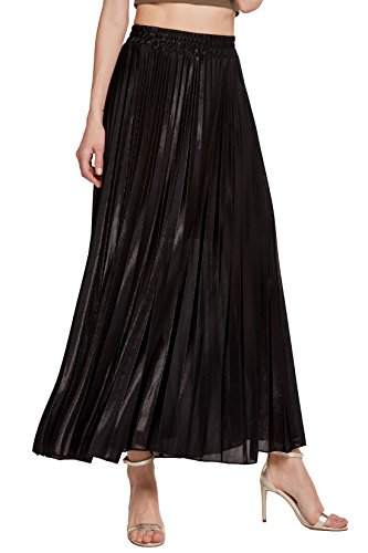 - 418hPs5vVBL - Chartou Women's Premium Metallic Shiny Shimmer Accordion Pleated Long Maxi Skirt