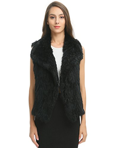 Ferand Women's Elegant Soft Rabbit Knit Fur Winter Vest in Waterfall Design, Black, Large