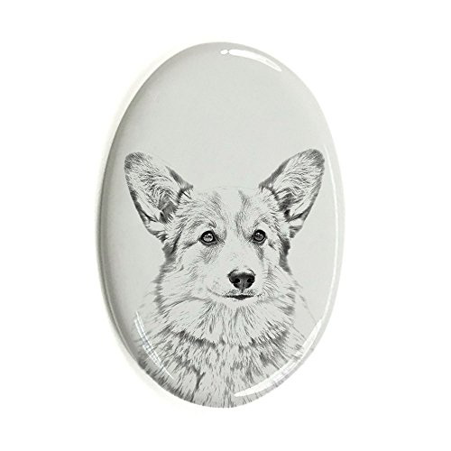 Welsh Corgi, oval gravestone from ceramic tile with an image of a dog (Corgi Tile)