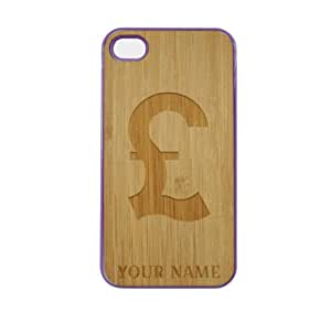SudysAccessories Personalized Customized Custom British Pound On Wood Engraved Purple iPhone 4 Case - For iPhone 4 4S 4G - Designer Real Bamboo Back Case Verizon AT&T Sprint(Send us an Amazon email after purchase with your choice of NAME)