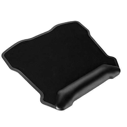 Mouse Pad, Jelly Comb Large Gaming Mouse Mat Ergonomic Mousepad with Leather Wrist Pad 12'' X 13'' Nonskid Base (Black)