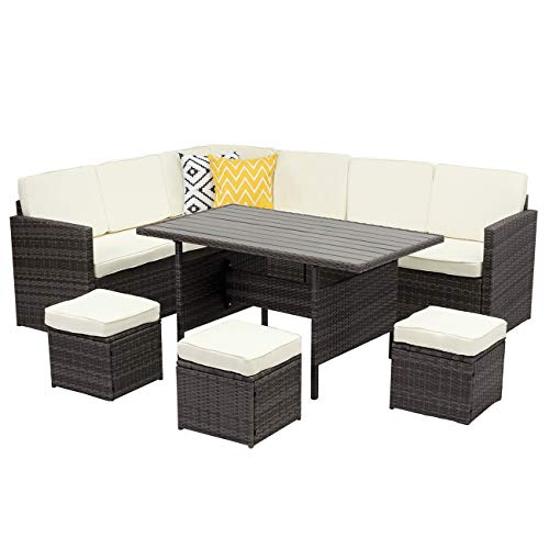 Wisteria Lane Outdoor Patio Furniture Set,10 PCS Sectional Conversation Set All Weather Wicker Sofa Table Chair (Dining Room Set Sofa)