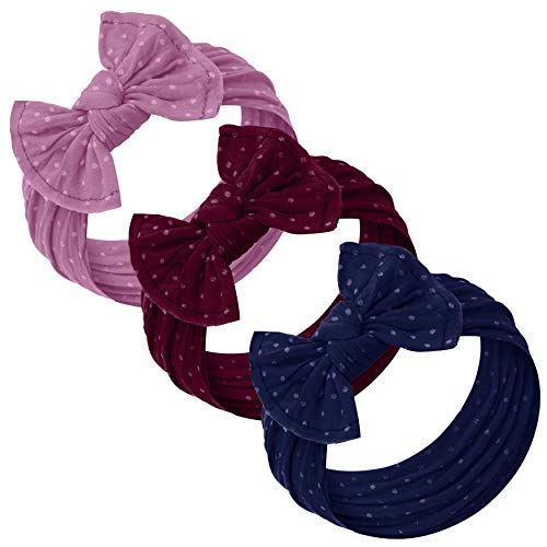 Baby Girl Headbands and bows - Nylon Headband Fits newborn toddler infant girls (Lilac - Burgundy - Navy -