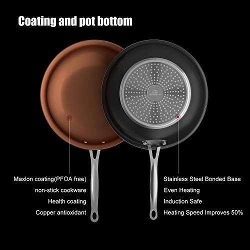 Cooksmark 10 Inch Nonstick Copper Frying Pan Induction Compatible Cooking Pan, Nonstick Skillet with Stainless Steel… Salted Salad