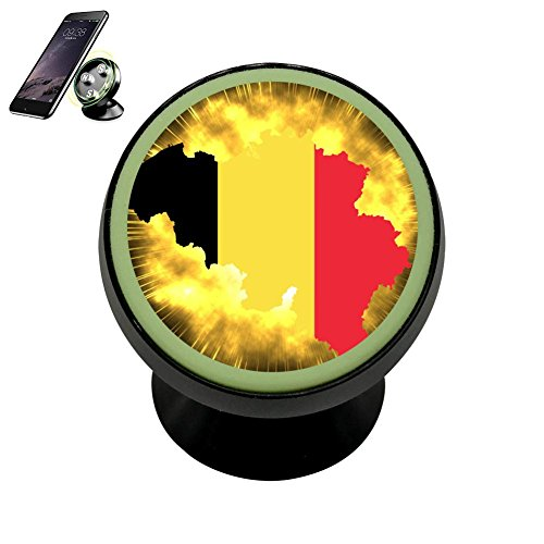 LIHHOLI Belgium Flag Clipart Vehicle Phone Mount Magnetic Mobile Phone Car Mount Dashboard Multi-Function Mounts Holder 360 Universal Noctilucent Kit