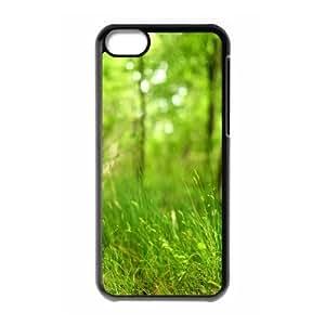 iPhone 5C Case,Bokeh Forest Grassland Hard Shell Back Case for Black iPhone 5C Okaycosama349842