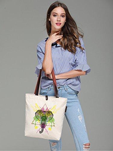 So'each Women's Elephant Graphic Canvas Handbag Tote Shoulder Bag
