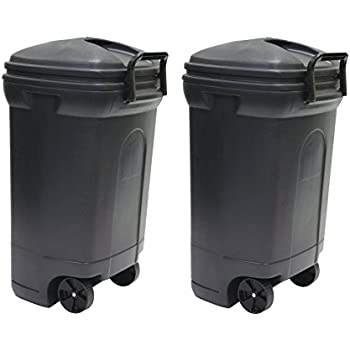 united solutions tb0010 rough and rugged rectangular 34 gallon wheeled black outdoor trash can with