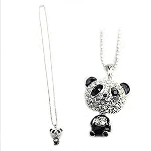 COLORFUL BLING Rhinestone Moving Head Panda Pendant Sweater Chain Necklace for Women