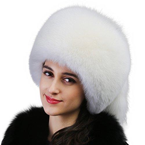 Mandy's Women's Winter Thick Genuine Fox Fur Caps Lady's Below Zero Show Hats (one size adjustable, White) by Mandy's