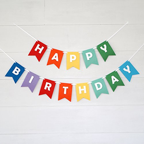 Happy Birthday Cut Outs (Premium Layered Felt Happy Birthday Banner Bunting Laser Cut 60 inches wide - Rainbow Flags)