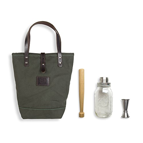 - W&P MAS-TOTE-GRN Cocktail Travel Tote in Forest Green/ Brown, 3 Piece, Tote, Mason Cocktail Shaker, Muddler, & Jigger, TSA Approved
