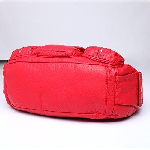 Angelkiss - Bolso al hombro de Piel para mujer 15.4*5*13 rojo