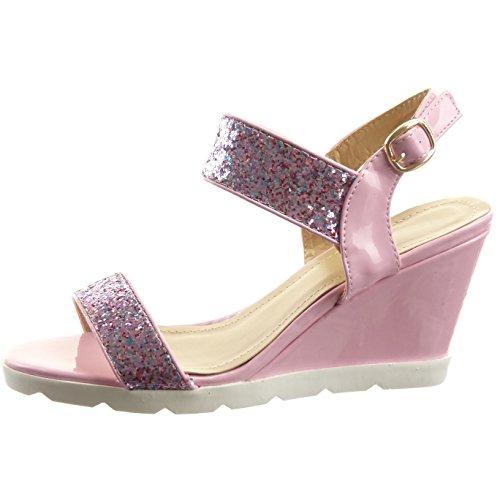 Sopily - Zapatillas de Moda Sandalias Abierto Zapatillas de plataforma Caña baja mujer brillantes strass Talón Plataforma 8 CM - Rosa