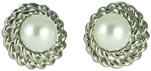 Glass Bead Clip Earrings - KENNETH JAY LANE - GLASS PEARL (FAUX) & SILVER CHAIN ACCENT CLIP EARRING