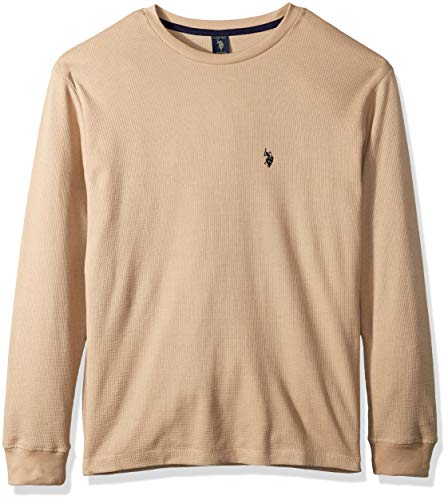 U.S. Polo Assn. Men's Long Sleeve Crew Neck Solid Thermal Shirt, Khaki Heather, L ()