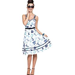 Voodoo Vixen Nancy Nautical Print Flare Dress White S