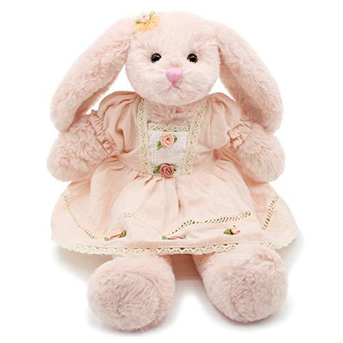 Oitscute Small Soft Stuffed Animal Bunny Rabbit Plush Toy for Baby Girls 15inch (Pink Rabbit Wearing Pink Vintage Dress)