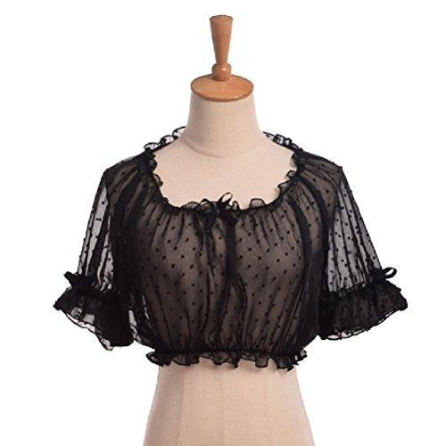 Vintage Girls Puff Sleeve Crop Top Blouse Bottoming Chiffon Lace Summer Lolita Shirt