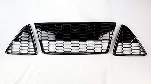 Honeycomb Mesh Front Bumper Lower 3pc Grills for Ford Focus S/SE 2012-2014