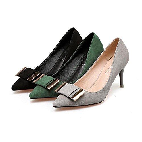 Frauen s High - Heeled Schuhe Bowling Bowknot Single Frau Spitz Flachen Mund mit der Hochzeit Black