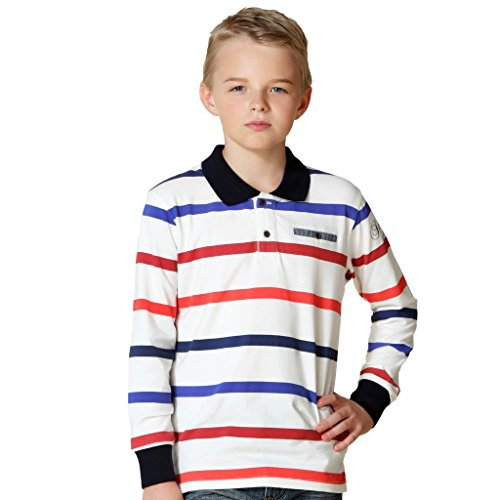 Leo&Lily Big Boys' Long Sleeves Striped Cardigan Polo Shirt (Red Blue Strip, 8)