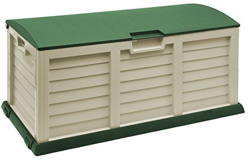 Starplast Deck Box with Dome Lid, 103 gallon, Beige/Green by Starplast