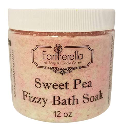 Luxurious relaxing SWEET PEA scented Fizzy Bath Soak with Epsom salts, Large 12 oz jar (Sweet Pea Bath Bomb)