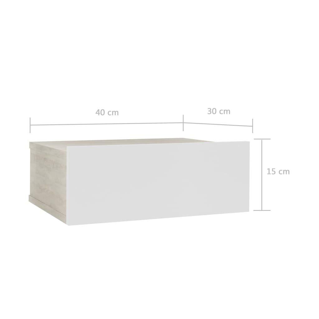 vidaXL Mesita Noche Flotante Aglomerado Elegante Cl/ásica Moderna Pr/áctica Duradera Resistente Funcional /Útil Color Roble Sonoma Blanca 40x30x15cm