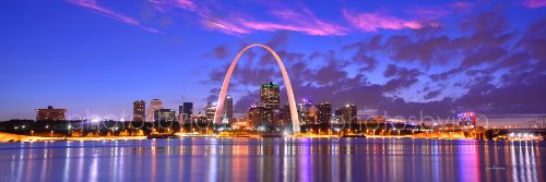 - St. Louis Skyline PHOTO PRINT UNFRAMED DUSK Sunset Color City Downtown 11.75 inches x 36 inches Gateway Arch Photographic Panorama Poster Picture Standard Size