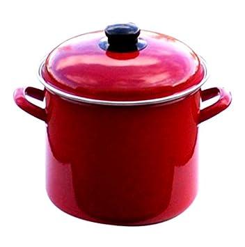 Uniware 5007-20 Enamel Deep Pot, 5.2 L, Red