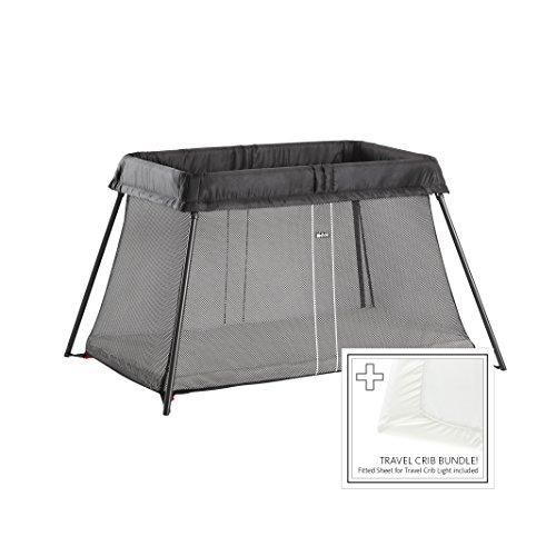 BabyBjörn BABYBJORN Travel Crib Light - Black + Fitted Sheet Bundle Pack, One Size (640001US)