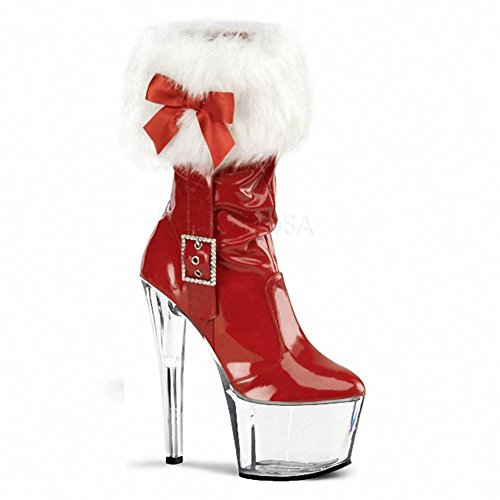 NVXIE Women's Ladies Short Low Christmas Boots Delight Sexy Super High Heel Belt Buckle Waterproof Artificial PU Fall Winter Stage Nightclub CRYSTALRED-EUR44UK10 7MLBE7Nh