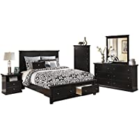 Ashley Maribel 5 PC Queen Storage Bed Bedroom Set with Chest in Black