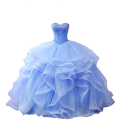 fdc190a167a Diandiai Sweetheart Quinceanera Dress Beads Ruffles Ball Gown Prom Dress -  Buy Online in Oman.